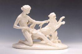 Porzellanskulptur, Passau, Frauenakt mit Löwin, weiß, ca.