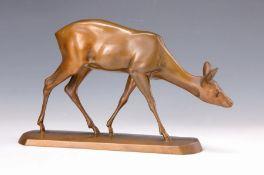 Bronzeskulptur, deutsch um 1910-20, Reh, Bronze,