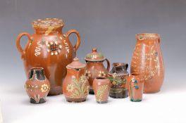 8 Teile Keramik, meist Hessen, Marburg, Vogelsberg, um