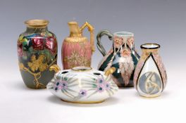 5 Jugendstilobjekte aus Keramik, um 1900, a. Limoges,