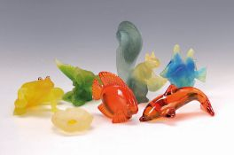 6 Glasfiguren, Daum, Nancy, Pate-de-Verre-Glas: