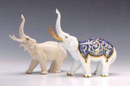 Zwei Porzellanfiguren, Ens, 30er Jahre, bunt bemalt,
