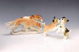 Zwei Hundeskulpturen, Ens, 30er Jahre, Porzellan, bunt