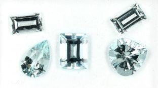 Lot 5 lose Aquamarine, zus. ca. 16.66 ct, versch. Größen
