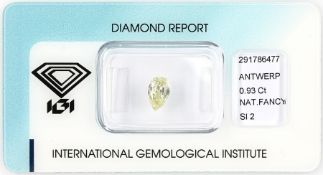 Loser Diamant, 0.93 ct Natural fancy yellow, tropfenf.