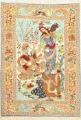 Esfahan fein,   Persien, um 1950, Korkwolle mit und auf