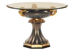 Runder Tisch, made in Italy,  Keramik, blaugrundig,