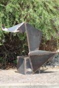 Skulptur, Andreas Helmling,  Eisen/Metall, aus dem Kubus