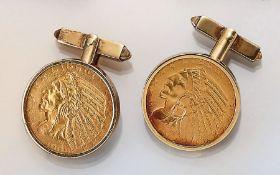 14 kt Gold Manschettenknöpfe mit 5 Dollar Münzen,   GG