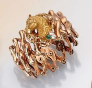 14 kt Gold Scherenzug-Armband, um 1900,   RoseG 585/000,