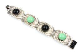 Art-Deco Armband mit Onyx und Malachit,   deutsch um 1920,