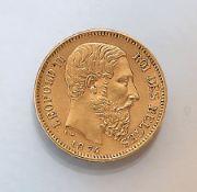Goldmünze, 20 Francs, Belgien, 1874,  LeopoldII., roi des