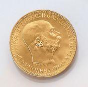 Goldmünze, 20 Kronen,   Österreich-Ungarn, 1915, Franz