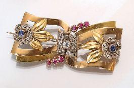 14 kt Gold Art-Deco Brosche mit Diamanten und Farbsteinen,