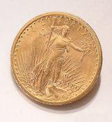 Goldmünze, 20 Dollars, USA, 1907,  sogn. Double Eagle,