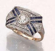 Ring mit Diamanten und Saphiren,   um 1910, deutsch, GG