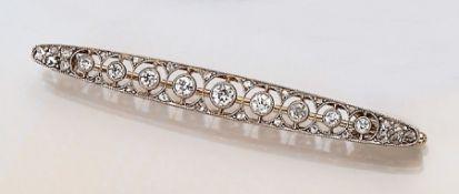 Jugendstilbrosche mit Diamanten,   deutsch um1910, Platin