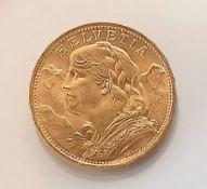 Goldmünze, 20 Franken, Schweiz, 1922,   sogn. Vreneli,