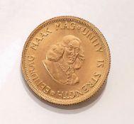 Goldmünze, 2 Rand, Südafrika,   1972, Springbock, 'Unity