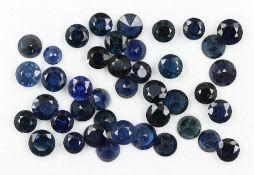 Lot lose, blaue rundfacett. Saphire zus. ca. 20.49 ct
