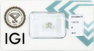 Eingeschweißter Diamant im Kissenschliff 1.01 ct get.