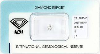 Brillant 0.34 ct,   hochfeines Weiß(E)/p1, IGI Expertise,