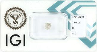 Eingeschweißter Diamant im Kissenschliff 1.00 ct