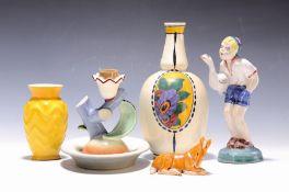 Lot aus 5 Objekten Art-Deco-Keramik:  Vase Boch Freres, um