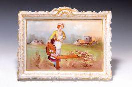 Porzellanmalerei, Frankreich, um 1900,  Junge Frau mit