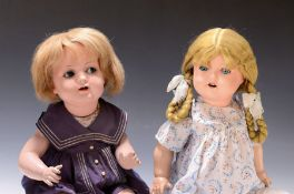 Zwei Masse-Puppen, 1930er Jahre,  1x wohl A. Michaelis,