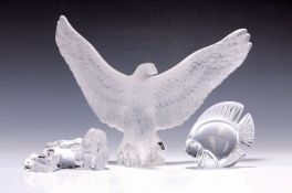 Drei Glasskulpturen, Lalique, 2.H.20.Jh.,  farbloses Glas,