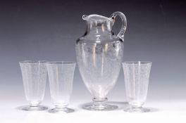 Krug und 5 Gläser, St. Louis, 1930er J.,  farbloses Glas