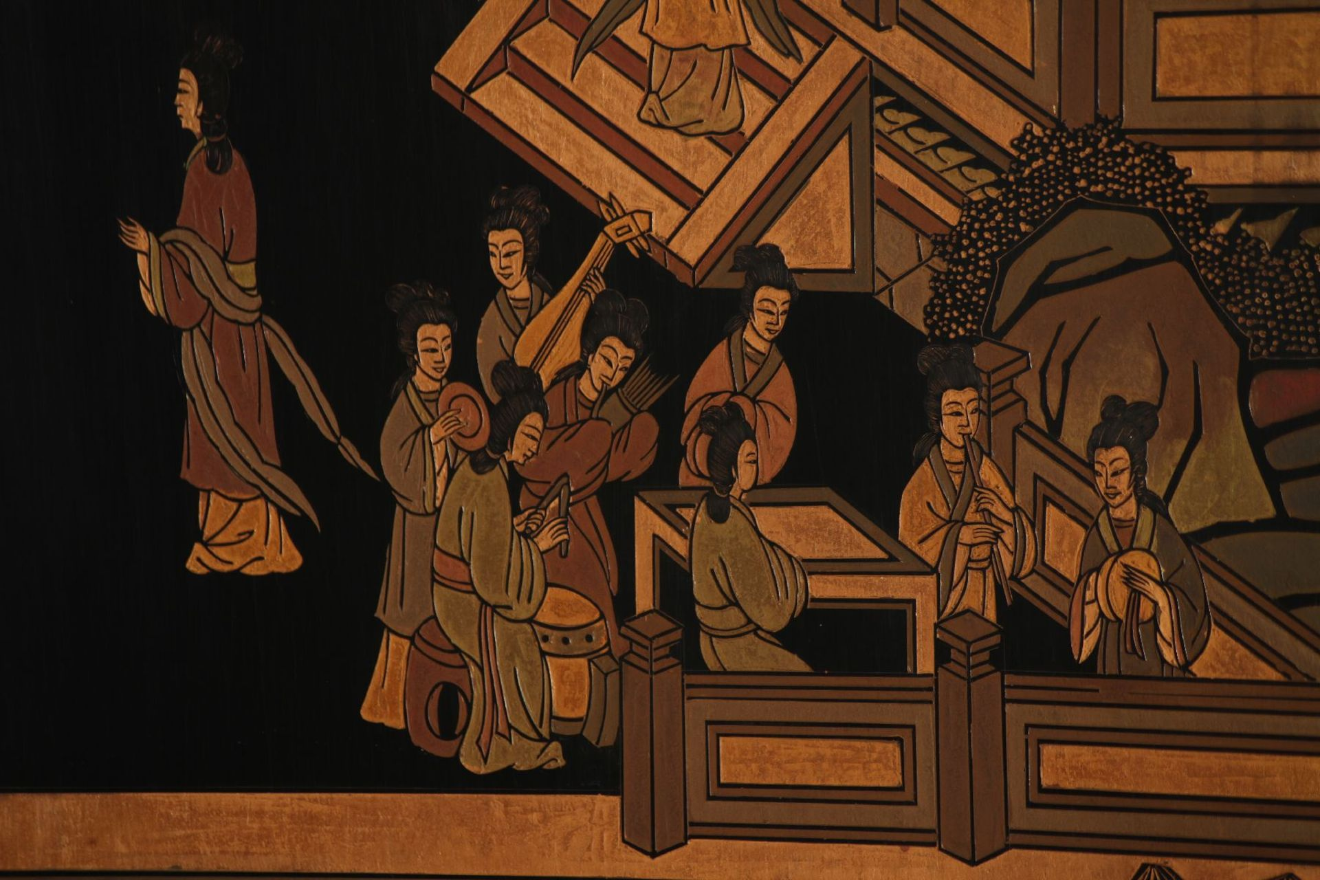 Paravent, nach chin. Vorbild des 16. Jhd., Front in - Image 3 of 7