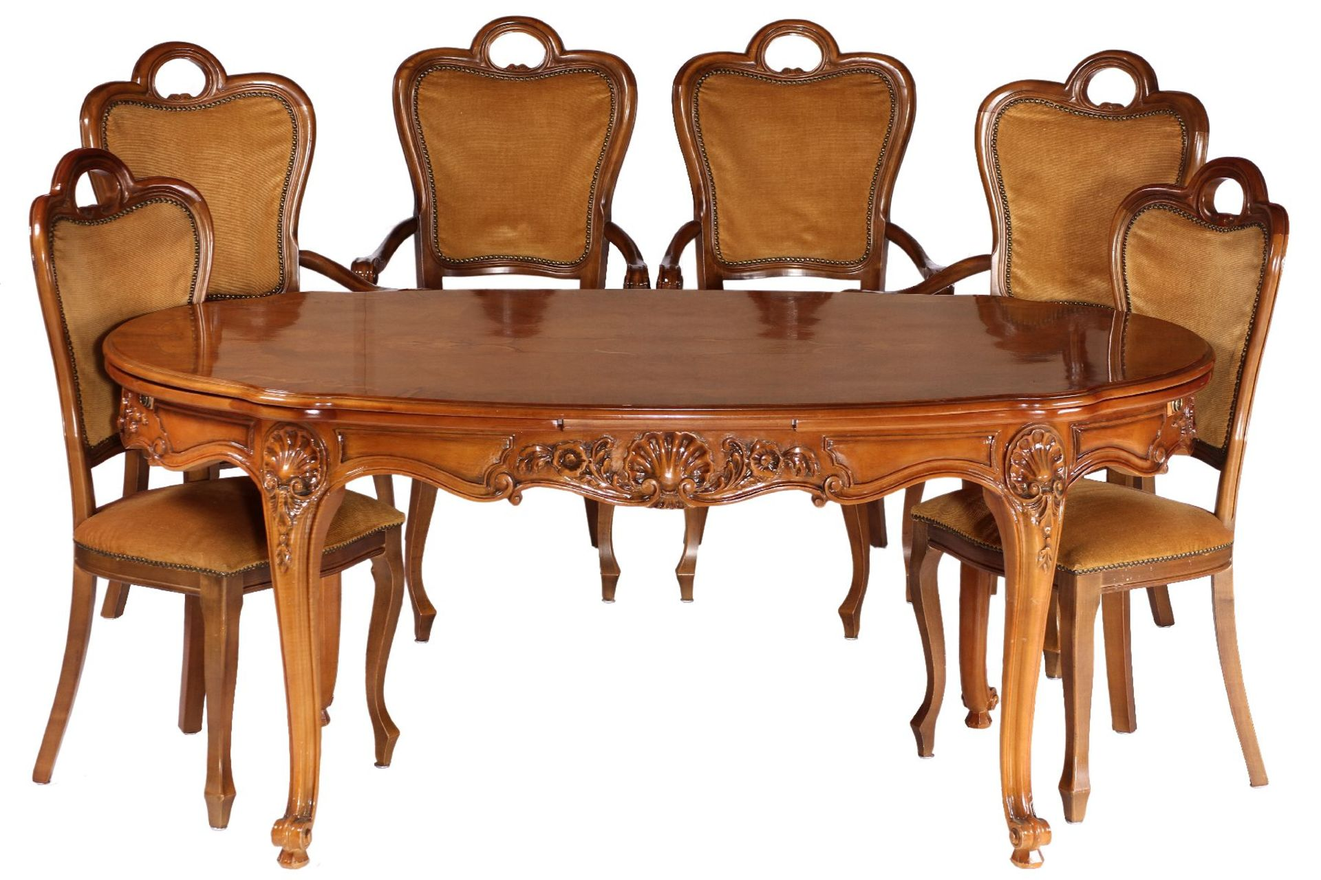 Ovaler Ausziehtisch mit 6 Stühlen, nach ital. Vorbild