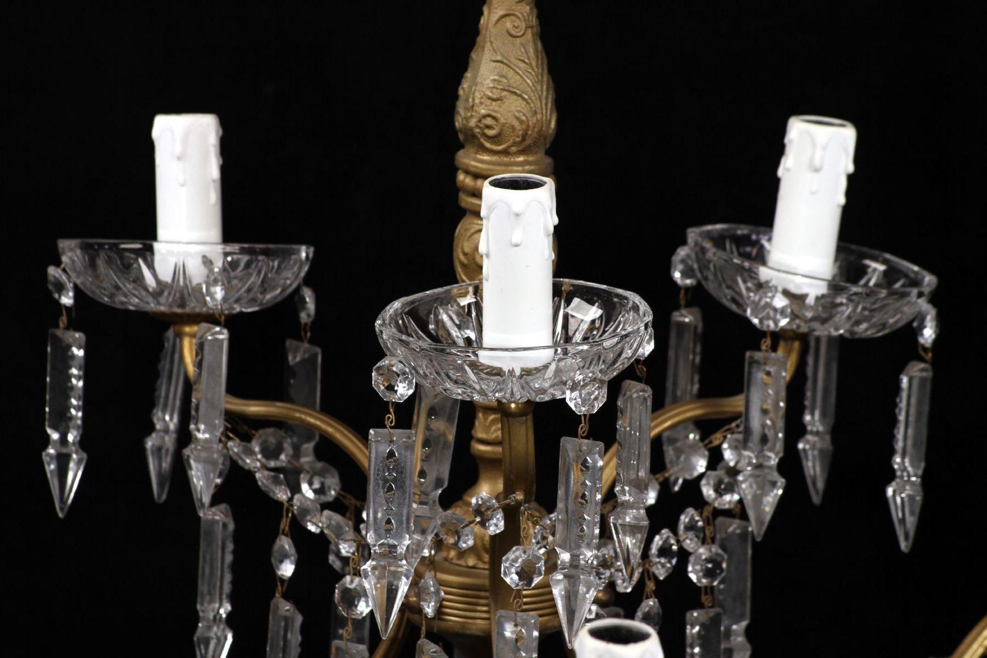 Kristallleuchter, Metallkorpus mit floralen Verzierungen - Image 3 of 3