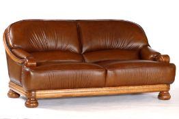2 1/2-Sitzer Couch,  Rahmen Eiche massiv, braune