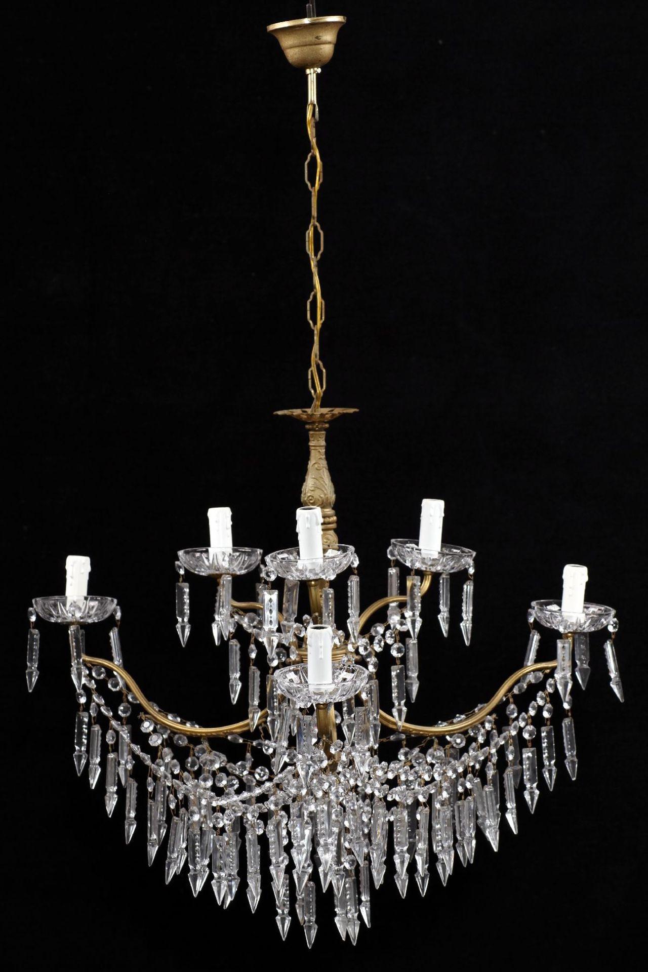 Kristallleuchter, Metallkorpus mit floralen Verzierungen - Image 2 of 3