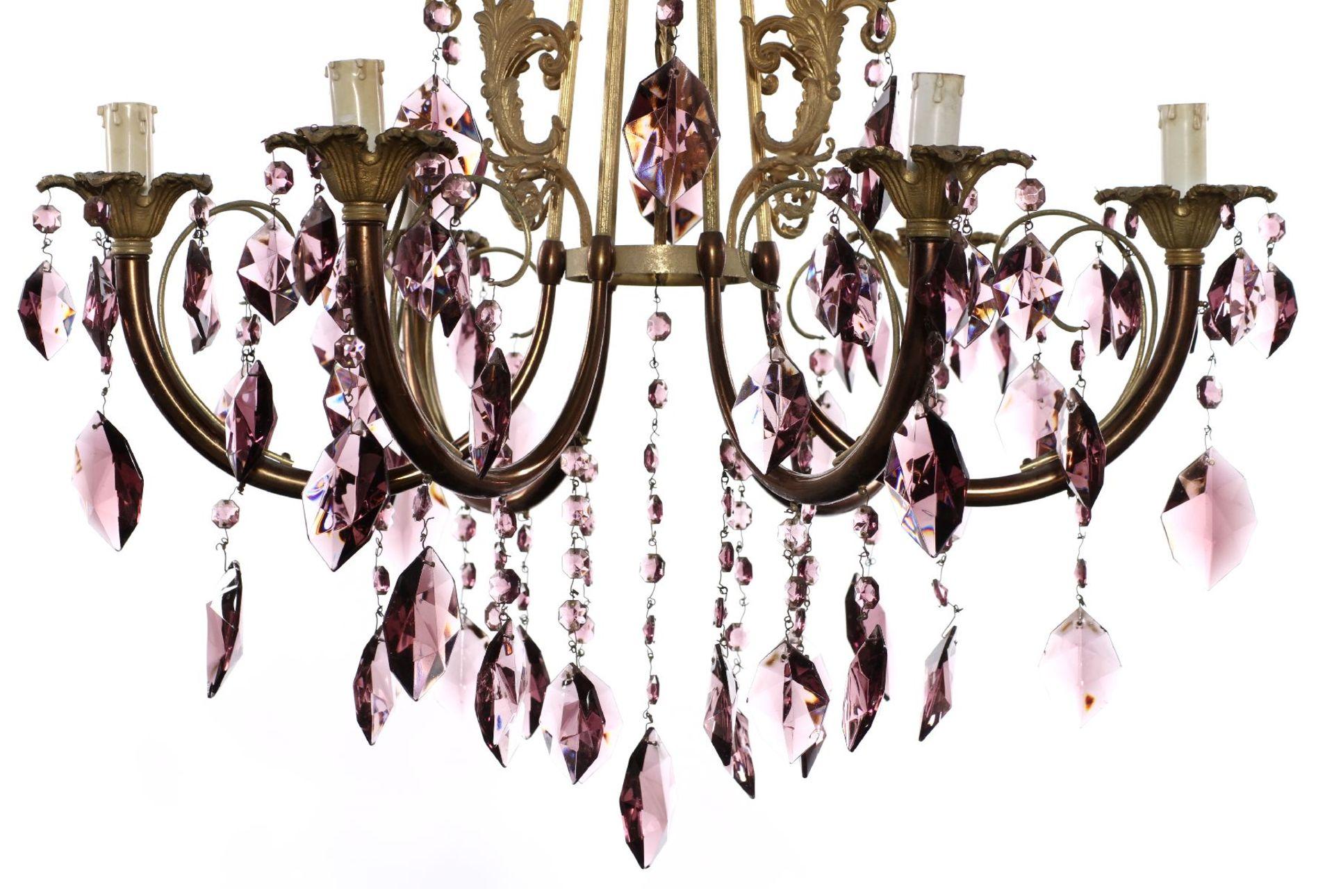 Kristallleuchter, Italien, Metallkorpus mit - Image 2 of 2