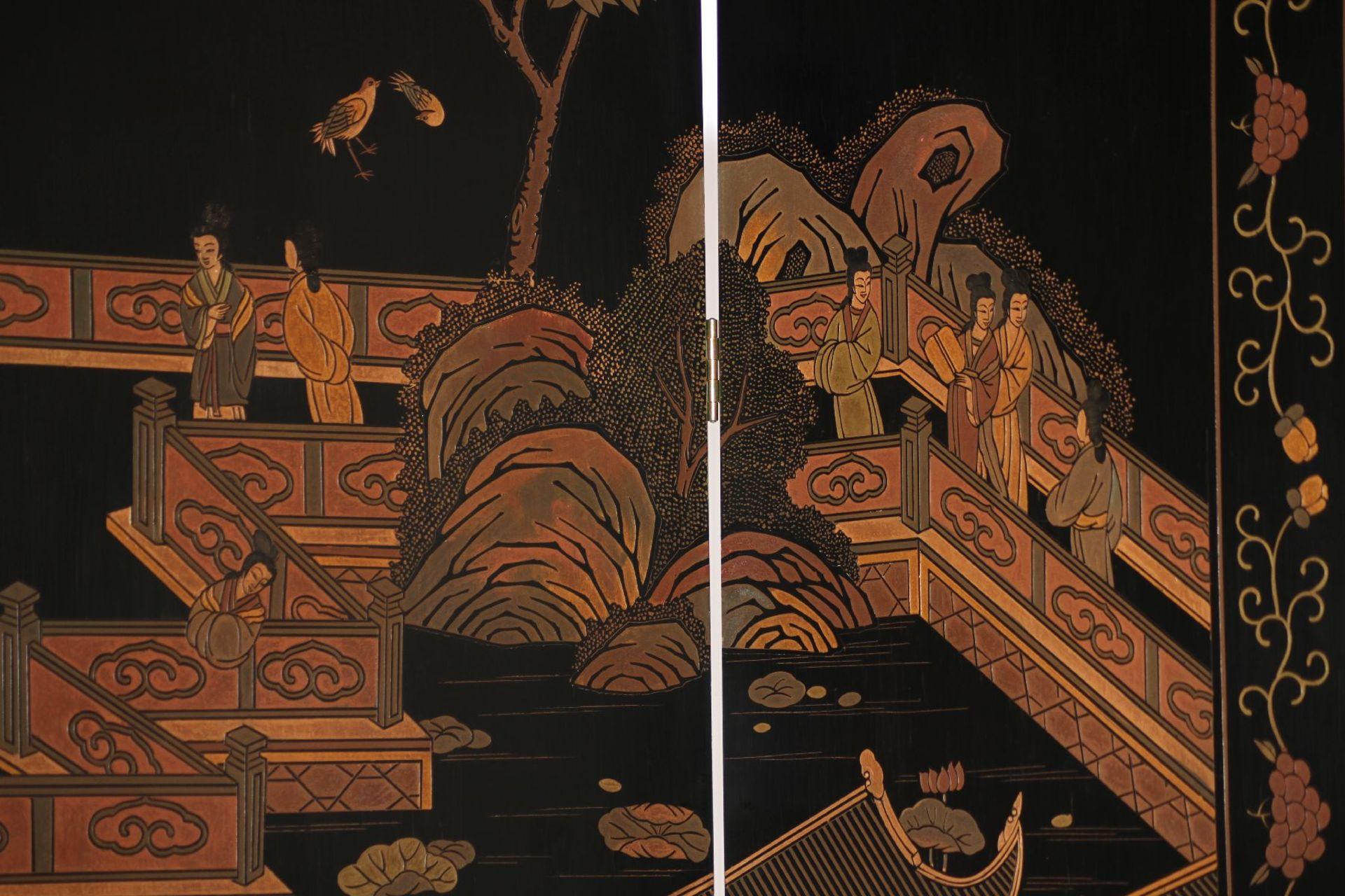Paravent, nach chin. Vorbild des 16. Jhd., Front in - Image 4 of 7