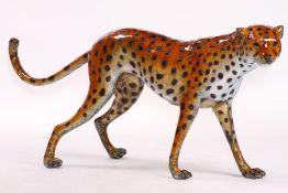 Gepard,  Bronze, Spezial-Patina in orange u. cremeweiß,