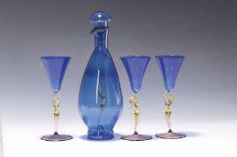 Likörservice, Lauscha, 20. Jh.,  blaues Glas, mit
