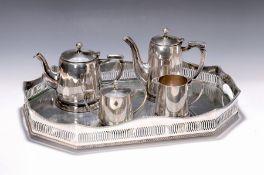 Tablett mit Kaffee- und Teeset, um 1905/10,  Kannen und
