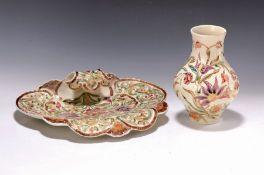 Muschelschale und Vase, Zsolnay, Pecs, 20.Jh.,  Steingut,