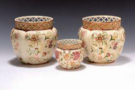 Drei Blumentöpfe, Zsolnay, Pecs, 20.Jh.,  Steingut,