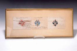 3 Wappenmalereien, Braunschweig 1638 und 1639,  Tinte und
