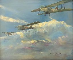 YURI TAGANOV (1910-1997) Soviet fighter jets amidst the clouds - signed in Cyrillic [...]