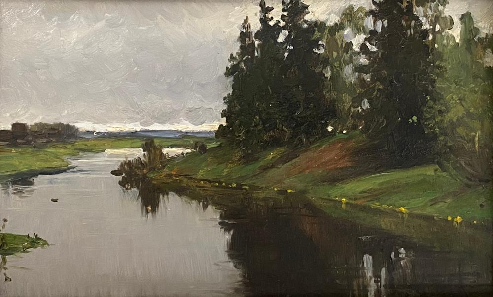 ALEXANDER VLADIMIROVICH MAKOVSKY (1869-1924) River shore - signed 'A Mak..' [...]