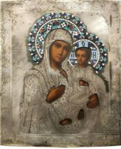 ICON IN A SILVER OKLAD «OUR LADY OF TIKHVIN». - Wood, oil. Oklad- silver, stamp, [...]