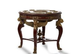 MONUMENTAL EARLY XX CENTURY MAHOGANY AND BRONZE SOUVENIR TABLE DECORATED WITH [...]