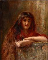 KONSTANTIN MAKOVSKY (1839-1915) Portrait of a young girl - signed in Cyrillic (upper [...]
